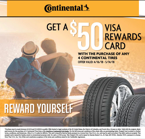 Continental Tires $50 Rewards Visa Card