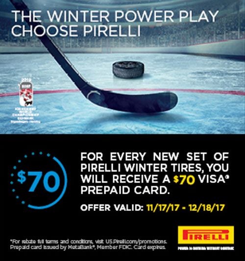 Pirelli Tires $70 Visa Gift Card Rebate